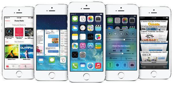iPhone 5s running iOS7