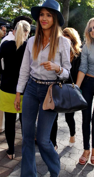 Jessica Alba's flared jeans