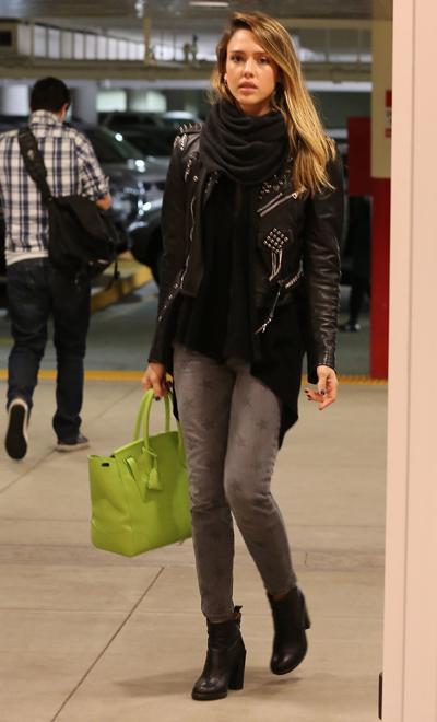 Jessica Alba in star-print jeans