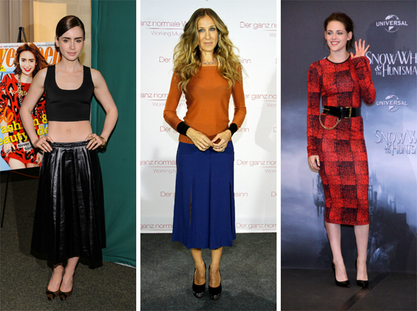 Celebrities wearing midi-skirts