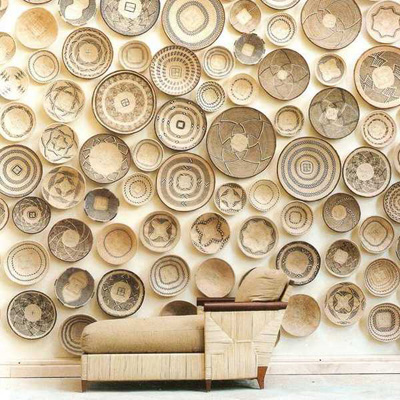 wicker plate collection as wall accent