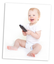 Baby with TV remote
