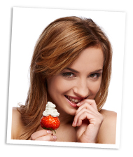Sexy woman with strawberry and whipped cream