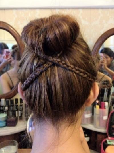 Sideways braids for the sock bun