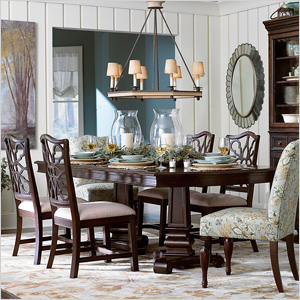 double pedestal dining table from Bassett Furniture