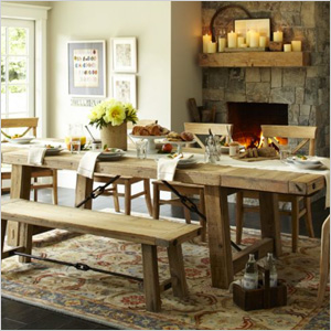 Reclaimed wood dining table from Pottery Barn