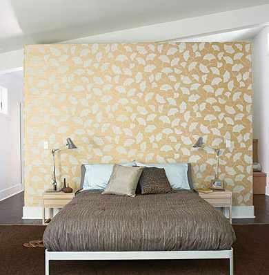 wallpaper accent wall as headboard