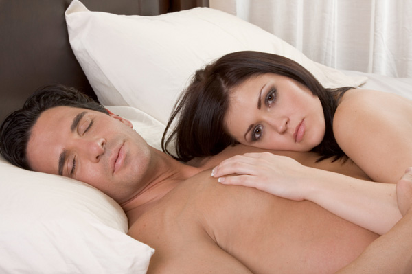 Woman laying on boyfriend's chest