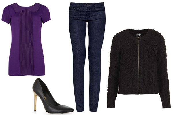 5 Fall outfits inspired by classic fall colors -- deep purple