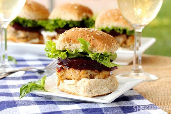 Basil ground turkey and cranberry stuffing sliders