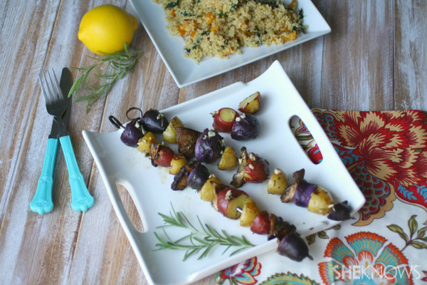 Grilled mushroom and potato kabobs with rosemary marinade