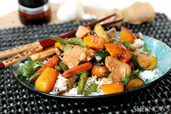 Roasted garlic chicken stir-fry with butternut squash
