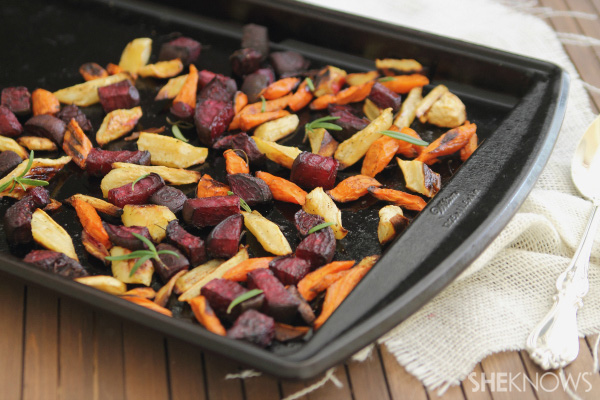 Sausage & spinach pearl couscous with roasted root vegetables