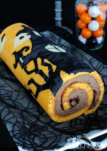 Stenciled Halloween cake roll