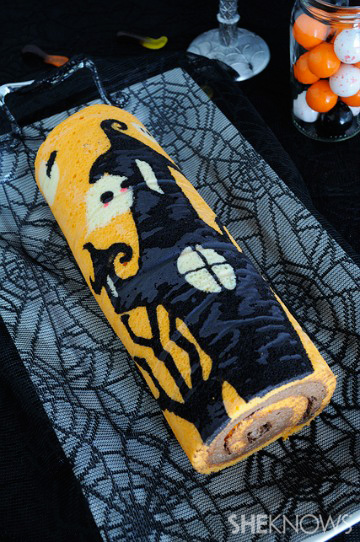 Stenciled Halloween cake roll