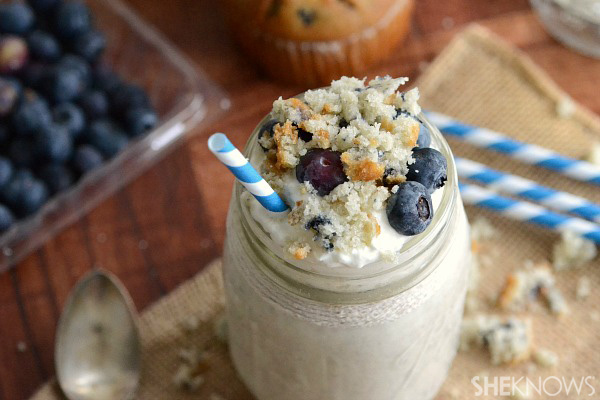 Boozy blueberry muffin milkshake