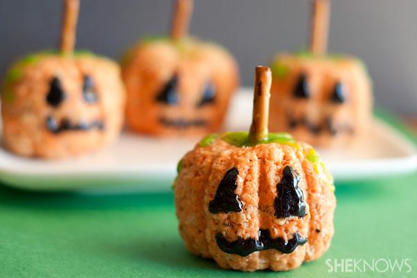 Rice krispie pumpkin treats