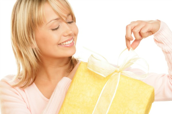 Woman opening a push present