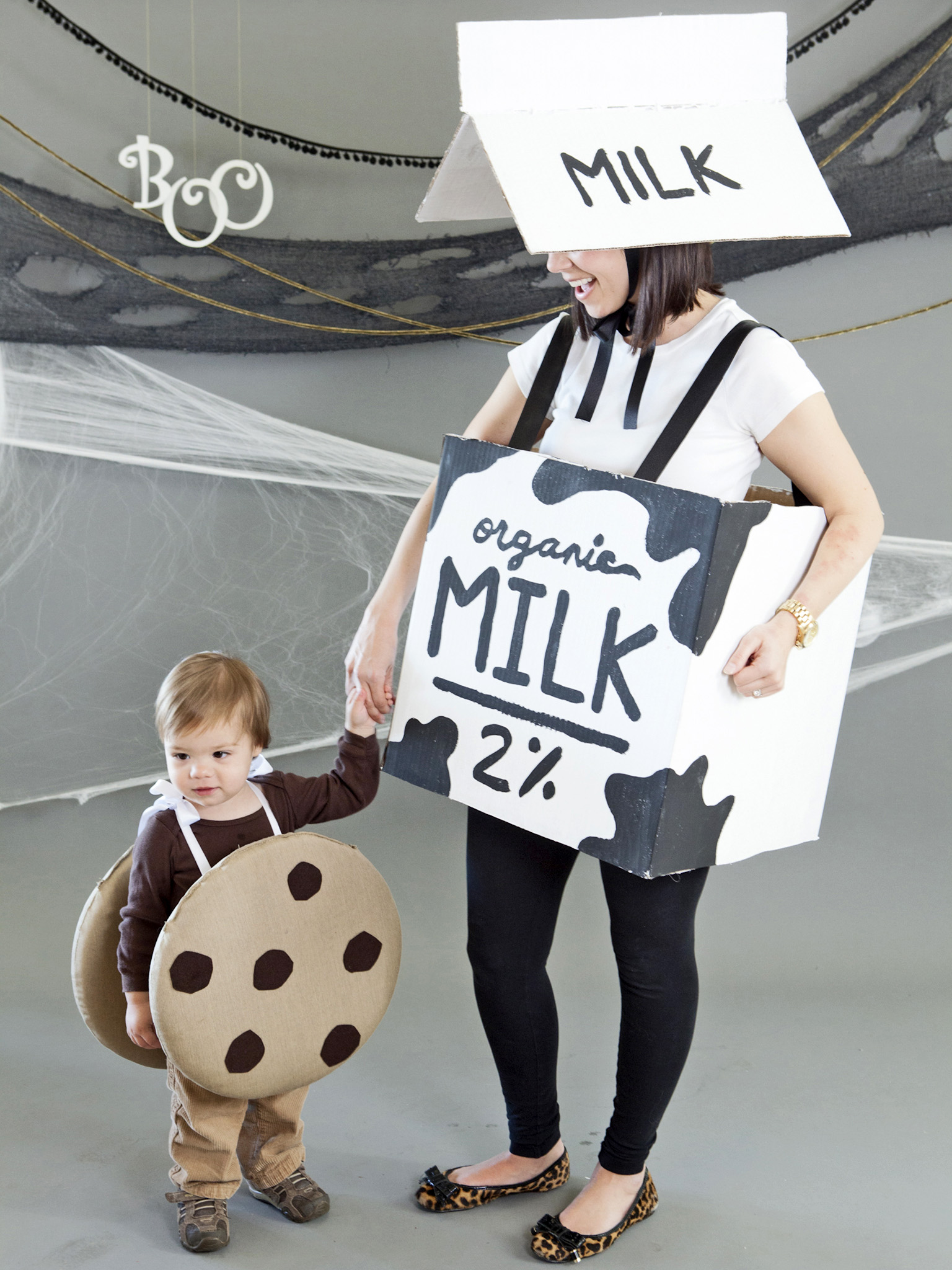 mommy and baby halloween costume idea milk and cookies