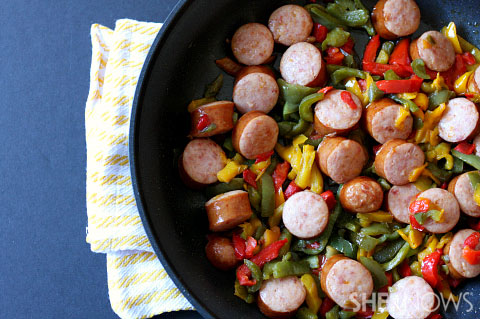 Smoky keilbasa with peppers and onions