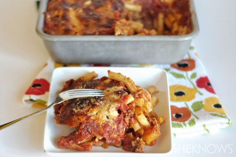 Baked ziti with Italian sausage and butternut squash