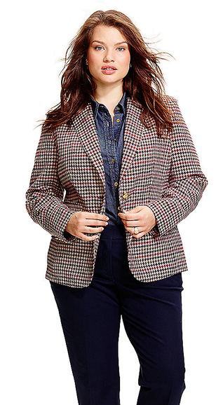 JONES NEW YORK SIGNATURE WOMENS Plus Houndstooth Blazer