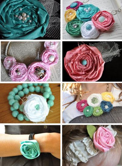 Fabric rosette flowers