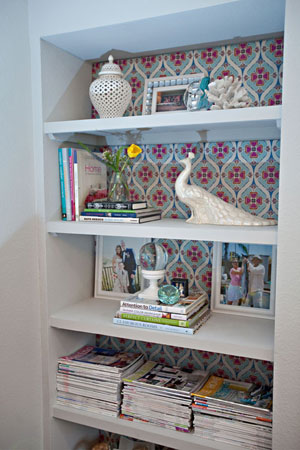 Abbe Fenimore shelf with wallpaper
