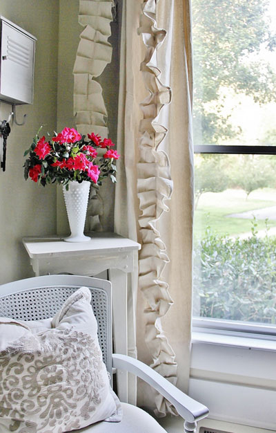 Ruffled drop cloth curtains