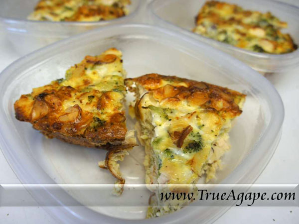 Chicken, Broccoli and Almond Frittata
