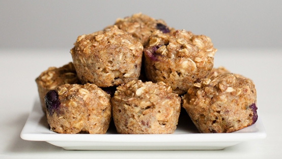 Healthy blueberry oatmeal mini muffins