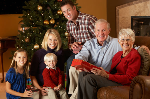 Happy family chirstmas portrait