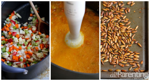 allParenting Creamy butternut squash soup with spiced pepitas collage