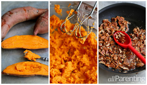 allParenting Sweet potato casserole with maple pecan streusel collage