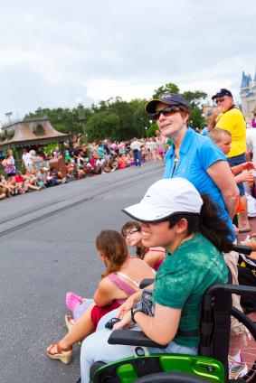 waiting for a Disney parade