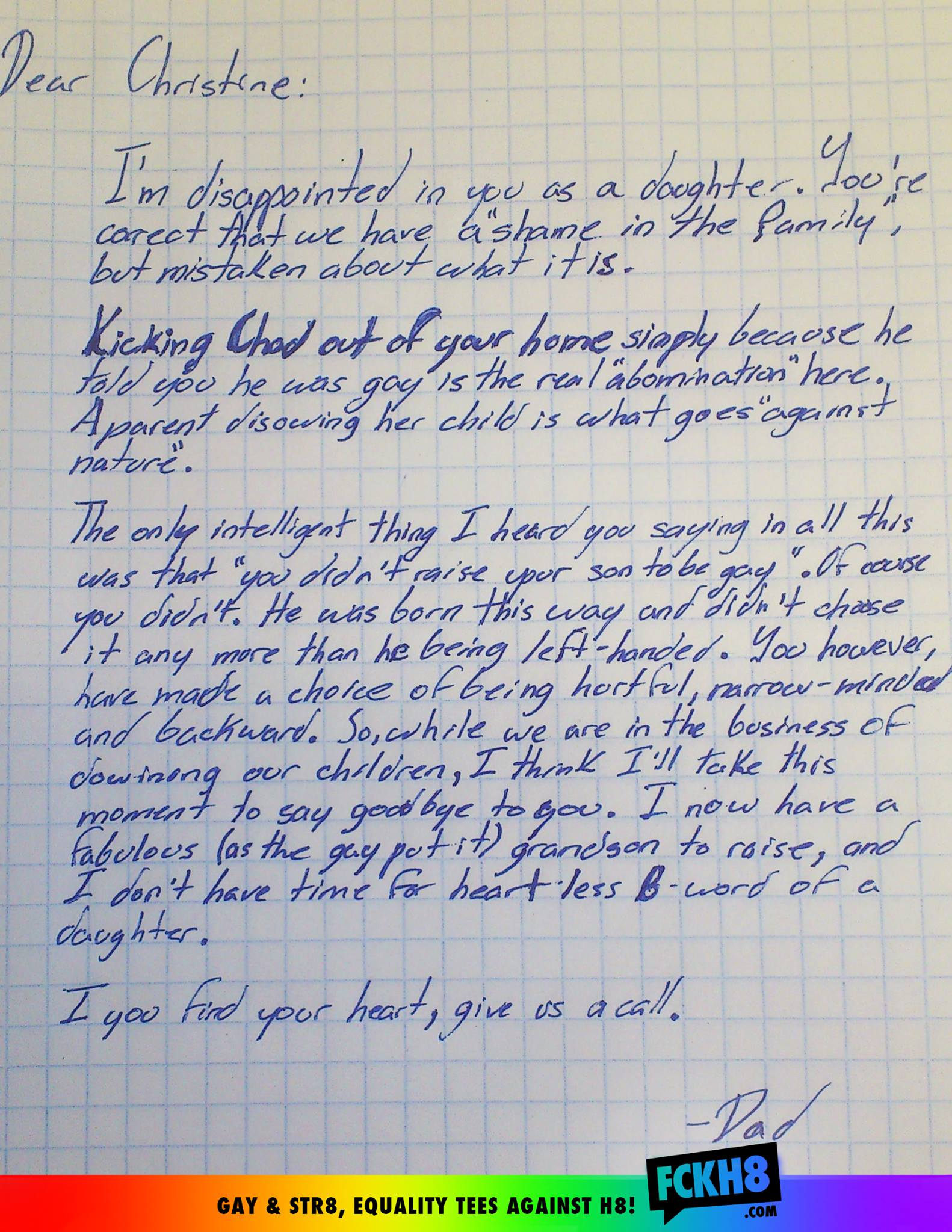 Homophobic daughter disowned by father letter