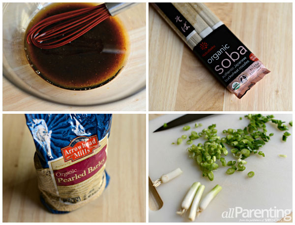 Cold sesame noodles with peanuts and green onions prep collage