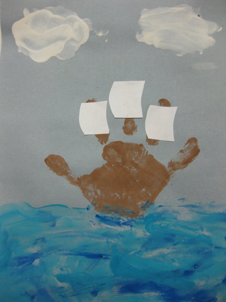 Thanksgiving Mayflower handprint craft