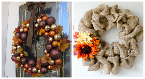 Thanksgiving wreaths DIY roundup collage