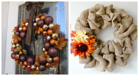 Thanksgiving wreaths DIY roundup collage