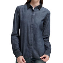 The Classic Chambray Shirt with Leather Collar