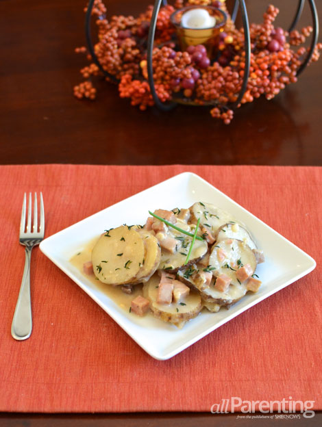 allParenting Thanksgiving slow cooker scalloped potatoes and ham