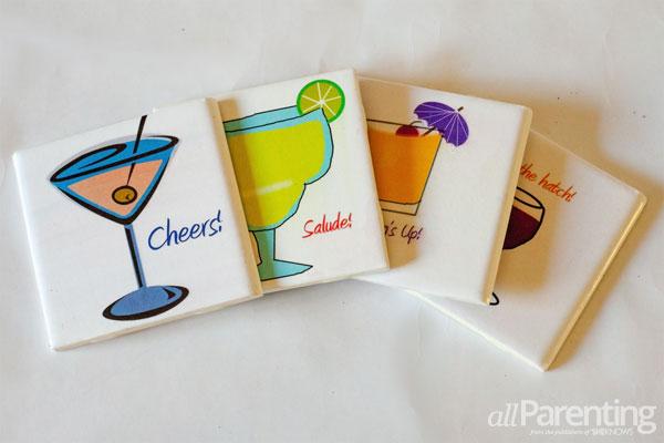 DIY cocktail coasters