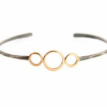 3 Gold Ring Oxidized Silver Cuff