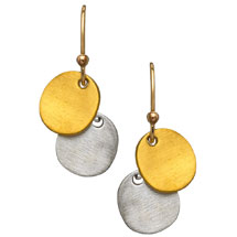 Philippa Roberts Jewelry Gold and Silver Tiny Ovals Drop Earrings