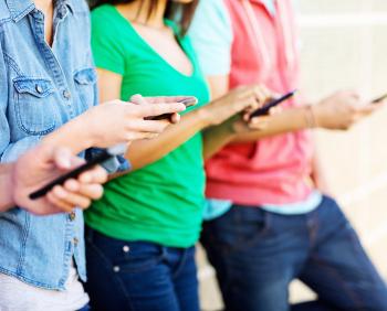 line of people on smartphones