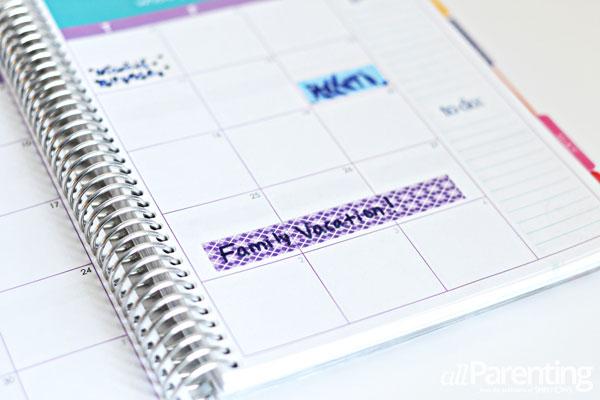 allParenting washi tape calendar