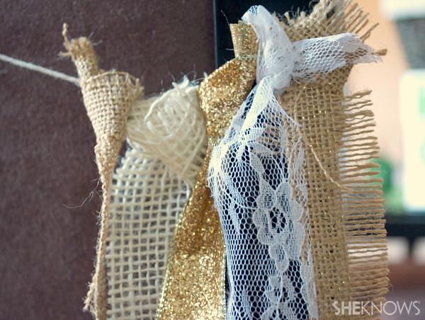 DIY burlap, ribbon & lace garland | Sheknows.com -- tie materials