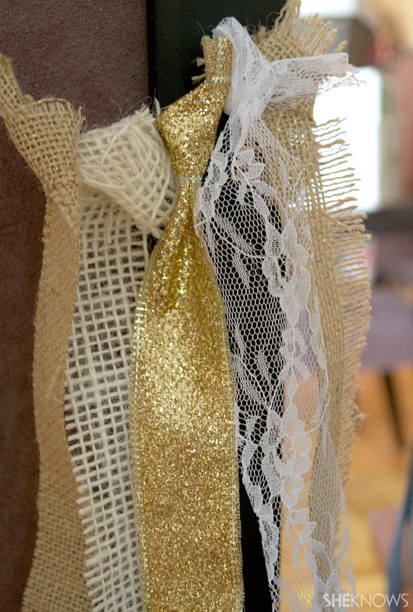 DIY burlap, ribbon & lace garland | Sheknows.com -- tie materials to the twine