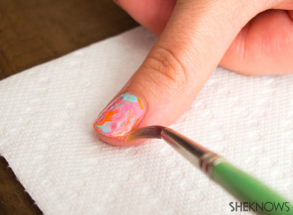 Nail design tutorial: The water color effect | Sheknows.com -- clean up
